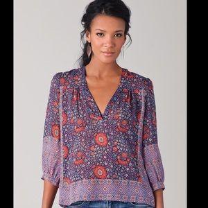 Joie Frazier Floral Silk Sheer Blouse